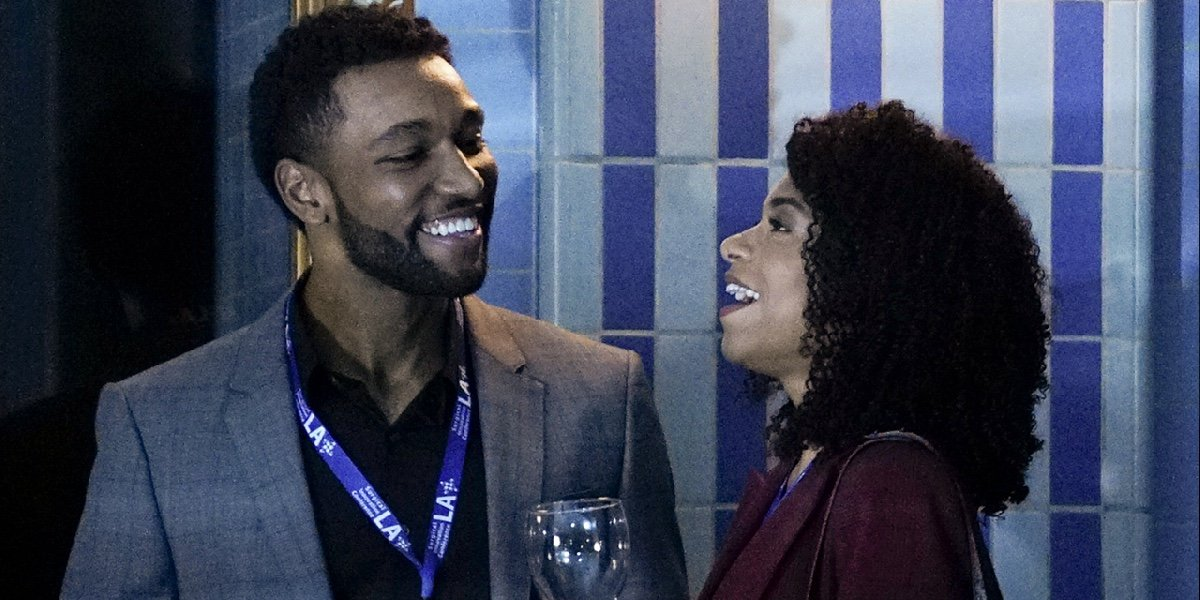Anthony Hill as Winston Ndugu and Kelly McCreary as Maggie Pierce in Grey's Anatomy.