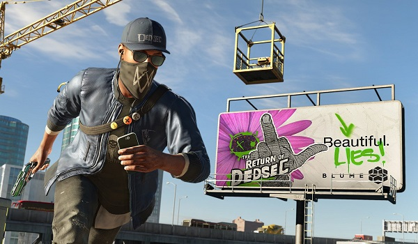 Marcus Holloway from Watch Dogs 2 runs across rooftop