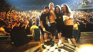 Pantera's Vinnie Paul, Phil Anselmo, Rex Brown and Dimebag Darrell onstage in 1993