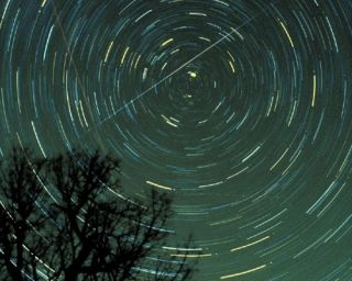 Star trails and a Geminids meteor over Georgia in 1985.