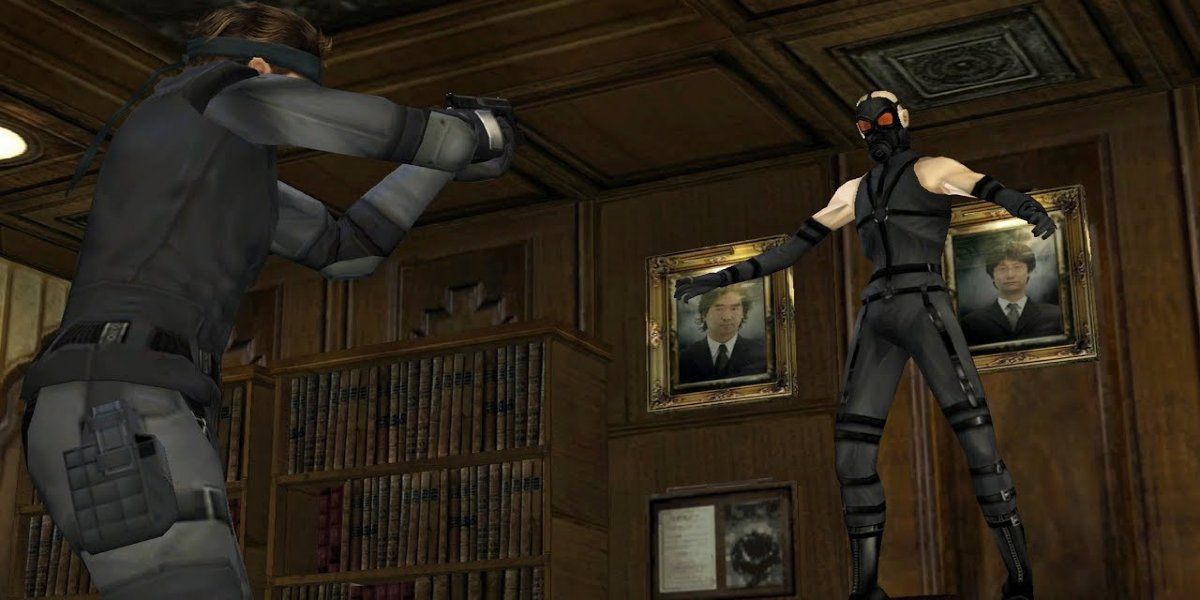 Solid Snake confronting Psycho Mantis in Metal Gear Solid: Twin Snakes