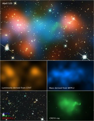 A composite image of the merging galaxy cluster Abell 520 shows the distribution of dark matter, galaxies, and hot gas.