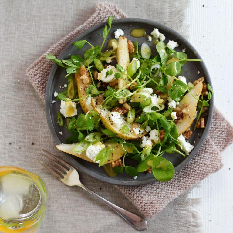 Photo: Pear, feta, walnut and pea shoot salad recipe
