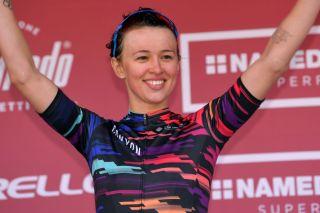 SIENA ITALY MARCH 09 Podium Katarzyna Niewiadoma of Poland and Team CanyonSRAM Celebration during the 5th Strade Bianche 2019 Women a 136km race from Siena to Siena Piazza del Campo StradeBianche Eroica on March 09 2019 in Siena Italy Photo by Luc ClaessenGetty Images