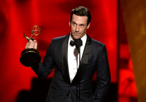 "Jon Hamm accepts the award for outstanding lead actor in a drama series for Â""Mad Men (Phil McCarten/Invision for the Television Academy/AP)"