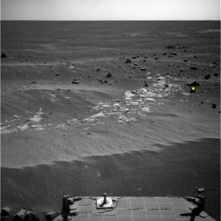 Image from NASA's Mars rover Opportunity in which it selected a Mars rock for further study and exploration.