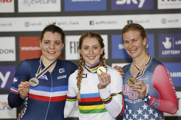 Laura Trott wins gold in the Omnium at the Track World Championships in London (Sunada)