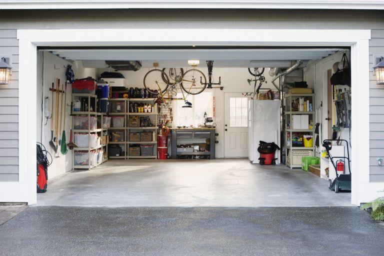 Inside of a large garage