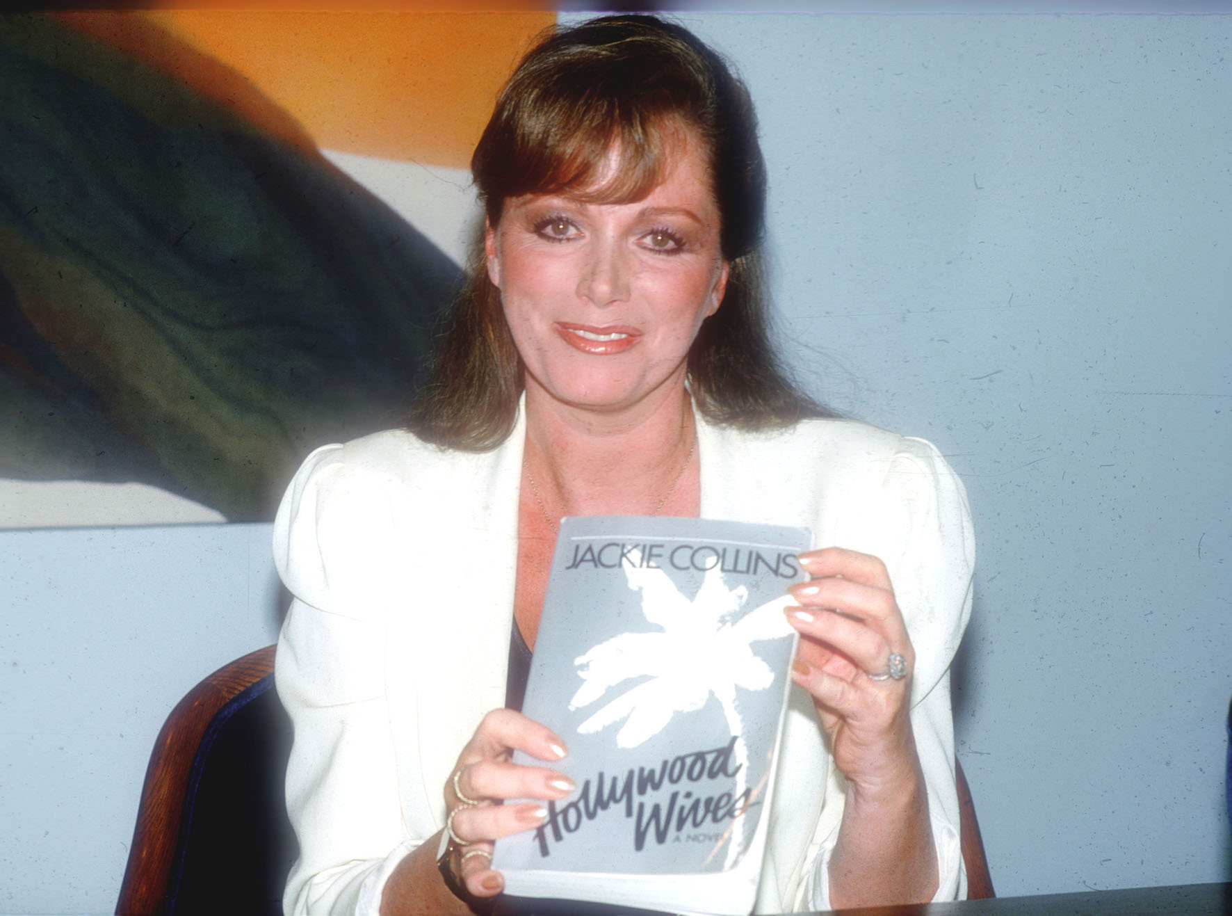 Jackie Collins promoting Hollywood Wives in the 1980s.