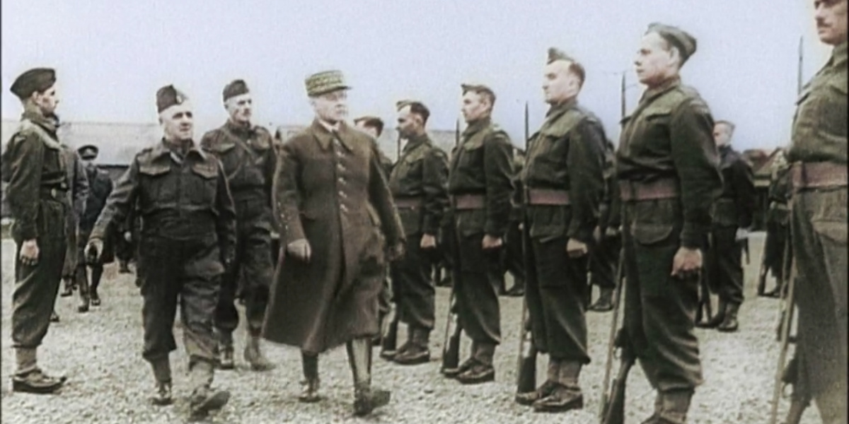 A video of soldiers lining up for their General in World War II in Apocalypse: The Second World War