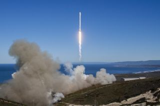 This image shows the first of eight scheduled launches by SpaceX for Iridium Communications. The second Iridium communications satellite launch is scheduled for June 25, and will send 10 satellites into orbit.