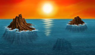 An artist's depiction of Archaean islands.