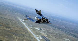 Virgin Galactic's SpaceShipTwo Unity makes its second glide flight over Spaceport America in New Mexico on June 25, 2020.
