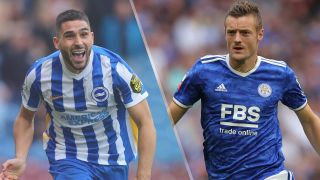 Brighton & Hove Albion vs Leicester City live stream — Neil Maupay of Brighton & Hove Albion and Jamie Vardy of Leicester City