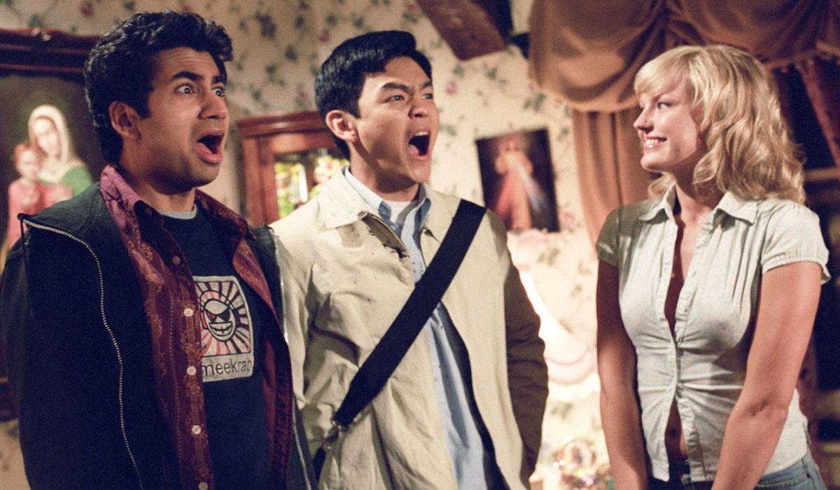 Kal Penn, John Cho and Malin Akerman in Harold and Kumar