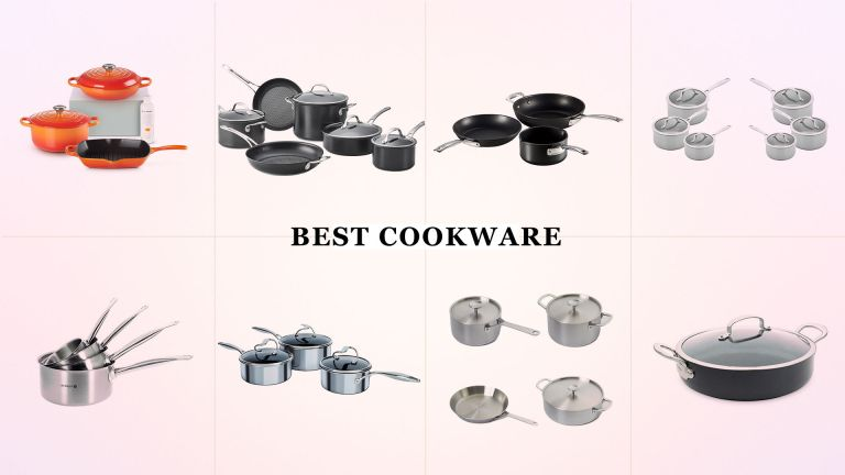 A collage image showing images of the best cookware options in our guide