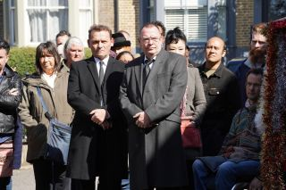 The residents gather for the funeral of Mel Owen