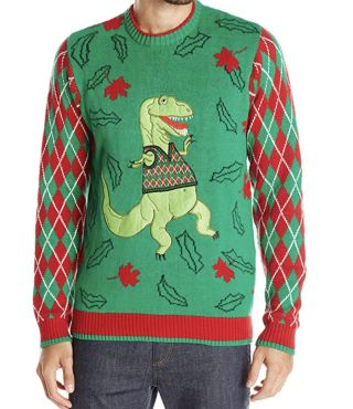 Dinosaur-themed ugly Christmas sweater.