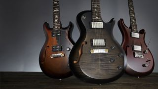 PRS' new S2 semis (L-R): Mira Semi-Hollow, Singlecut Semi-Hollow and Custom 22 Semi-Hollow