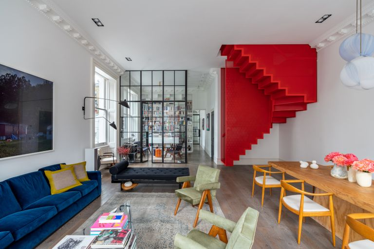 staircase ideas - modern red staircase