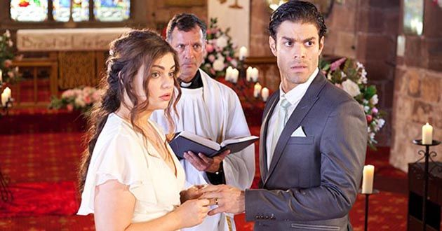 There's an interruption at Diego Martinez and Celine McQueen's wedding in Hollyoaks.