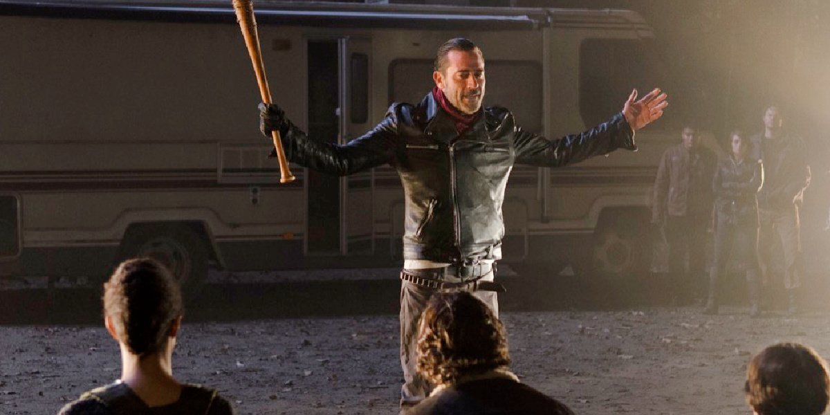 Negan and his followers in The Walking Dead.