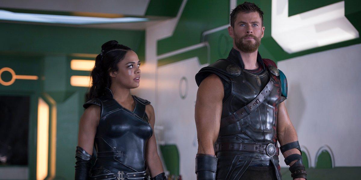 Chris Hemsworth and Tessa Thompson in Thor: Ragnarok