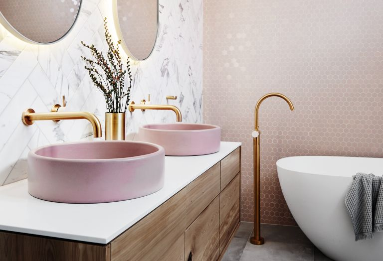 Luxury bathroom in pink