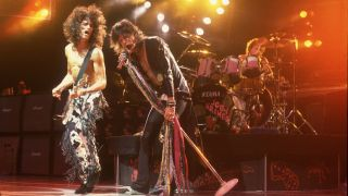 Joe Perry and Steven Tyler of Aerosmith on 7/1/93 in Chicago, Il