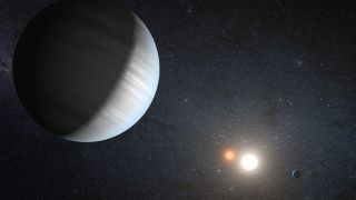 An illustration of Kepler-47, another exoplanet orbiting around two suns.