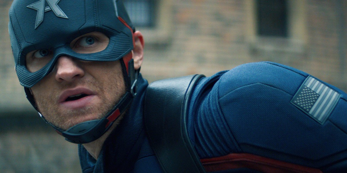 John Walker/Captain America stares intensely in The Falcon and the Winter Soldier (2021)