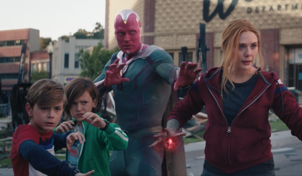 wanda, vision, billy and tommy ready to fight in wandavision finale