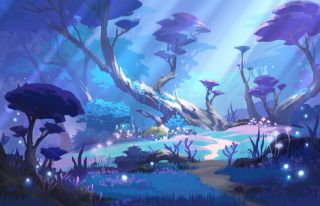 An image of a serene blue and purple grove of trees, concept art from Genshin Impact. There is a pool of water in the foreground.