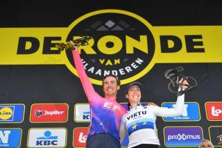 2019 Tour of Flanders winners Alberto Bettiol and Marta Bastianelli