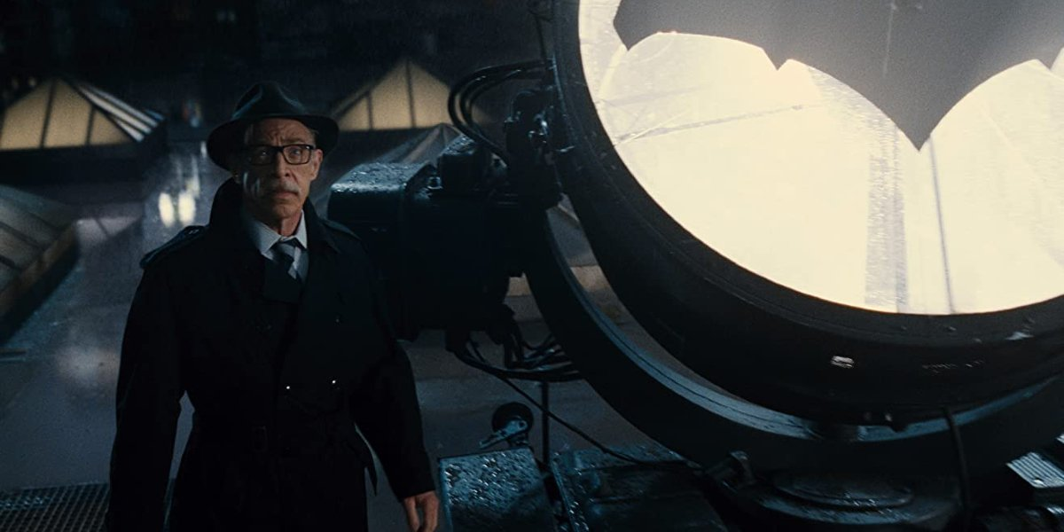 Justice League J.K. Simmons as Commissioner Gordon, waiting by the Batsignal