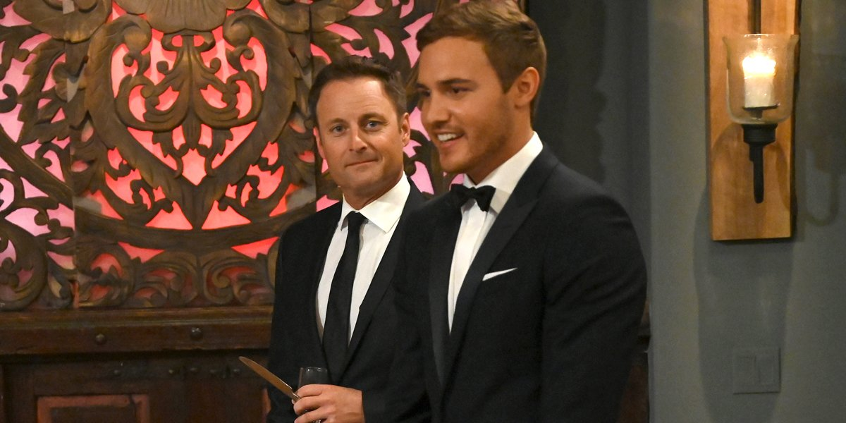 The Bachelor 2020 Chris Harrison looks at camera next to Bachelor Peter Weber
