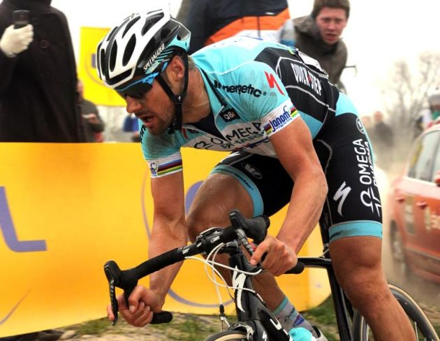 Tom Boonen on his way to winning Paris-Roubaix 2012