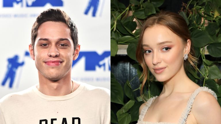 Pete Davidson in the press room during the 2017 MTV Video Music Awards / Phoebe Dynevor poses the Netflix BAFTA after party at Chiltern Firehouse on February 2, 2020