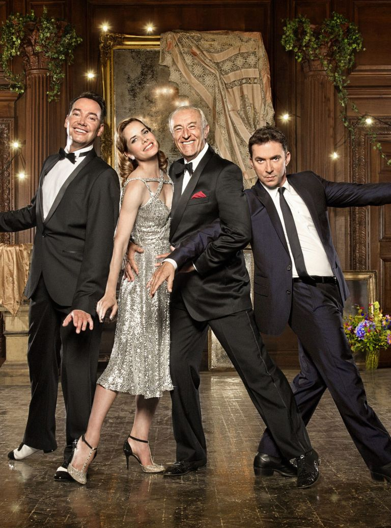 Bruno Tonioli, Darcey Bussell, Len Goodman and Craig Revel Horwood dancing together Strictly Come Dancing 2012