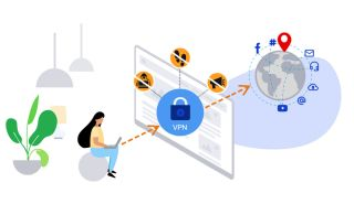 An illustration of a woman using a VPN to connect to the Internet.