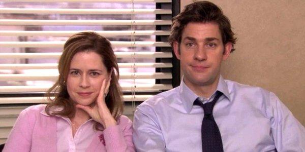 The Office Pam smiles to camera Jenna Fischer and Jim John Krasinski