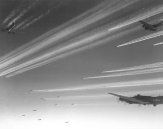 Bombers create contrails