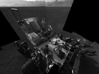 This high-res mosaic of 20 images is the first clear self-portrait of NASA's Mars rover Curiosity on the Red Planet.
