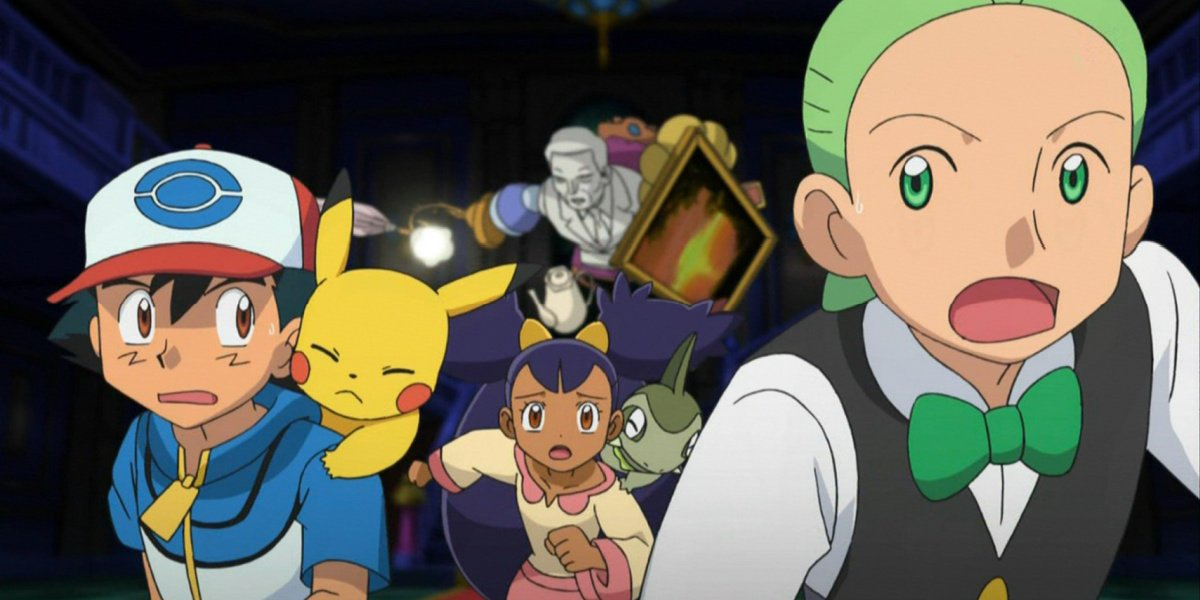 Ash with his new companions running in Pokemon: Black/White.