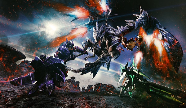 A dragon attacks in Monster Hunter XX