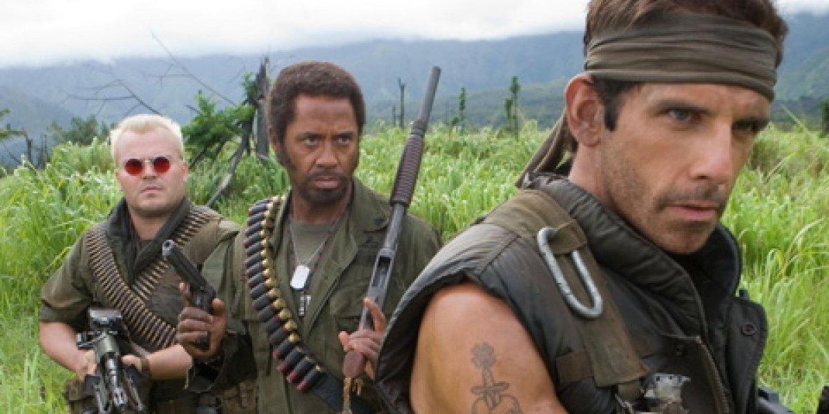 Jack Black, Robert Downey Jr., and Ben Stiller in Tropic Thunder