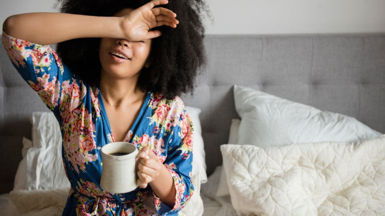 Woman getting up early