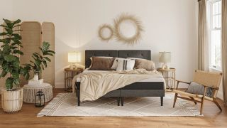 The best Emma mattress sales, deals and discounts codes: An image of the Emma Mattress in a bohemian style bedroom with wicker furniture