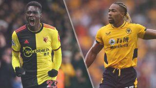 Watford vs Wolverhampton Wanderers live stream — Ismaila Sarr of Watford and Adama Traore of Wolverhampton Wanderers