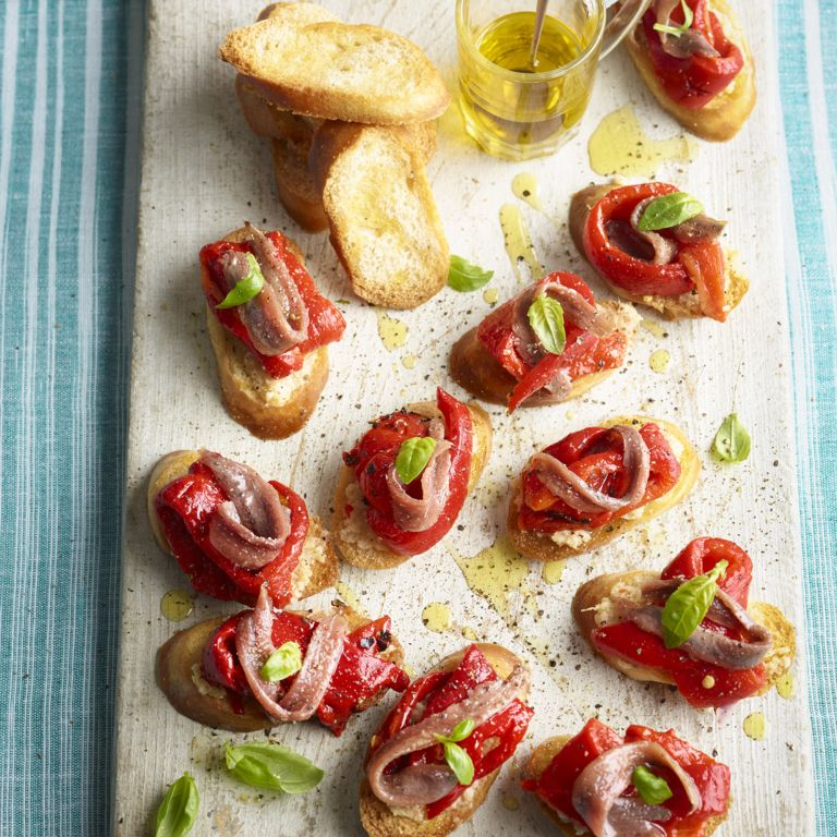 Red Pepper Anchovy Crostini